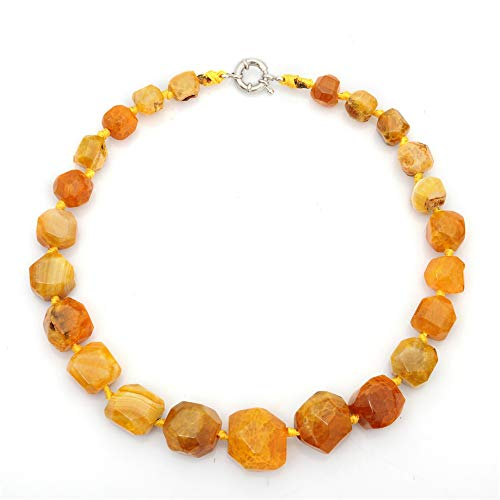 WANZIJING Agate Crystal Necklace, Polished Semi Precious Stones Beads Necklace Stunning Agate Gemstone Necklace for Women,Yellow