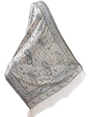 """Silk Jamavar Shawl from India Shades of Silver Gray Wrap Floral Paisley 74""""x29"""""""