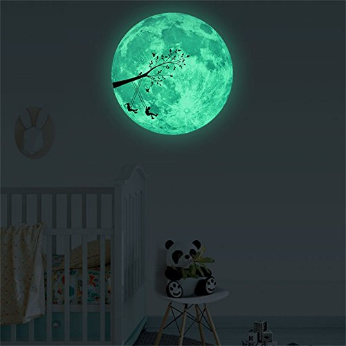 Gotian 3D Luminous Moon Sticker, Large Moon Fluorescent Wall Sticker Removable Dark Glow Sticker Home Room Decor (B: 30cm)