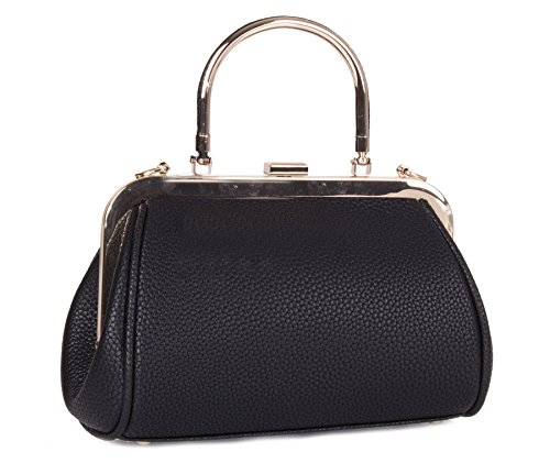 Evening Bag Womens Big Handle Fashion Plain Handbag Party Shoulder Shop Leather Black Wedding Single Vegan qRrE8xOwq