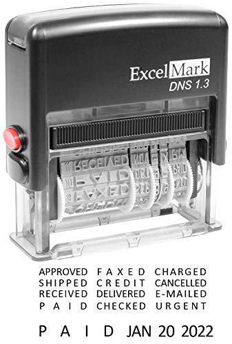 - ExcelMark Self-Inking Stock Message Date Stamp – DNS 1.3 (Black Ink)