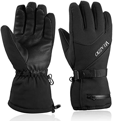 Ski Gloves - VELAZZIO Waterproof Breathable Snowboard Gloves, 3M Thinsulate Insulated Warm Winter Snow Gloves, Fits each Men & Women