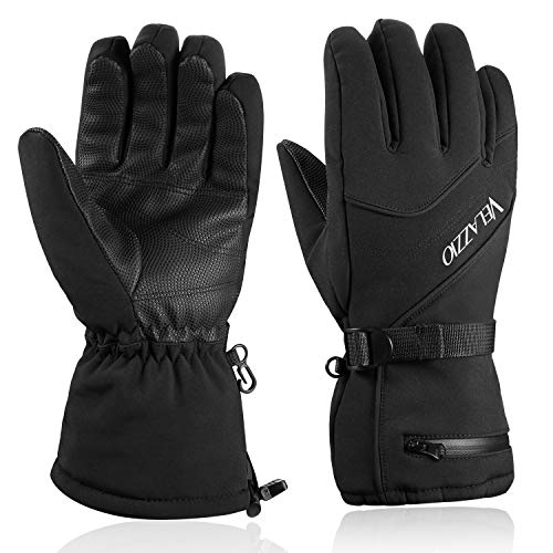 Velazzio Ski Gloves Waterproof Breathable Snowboard Gloves, 3M Thinsulate Insulated Warm Winter Snow Gloves, Fits Both Men & Women (M) (Best Thin Winter Gloves)
