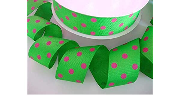 """1.5/""""38mm Pink Polka Dots Grosgrain RIBBON 5 Yard Craft Sewing Hair Bow DIY"""
