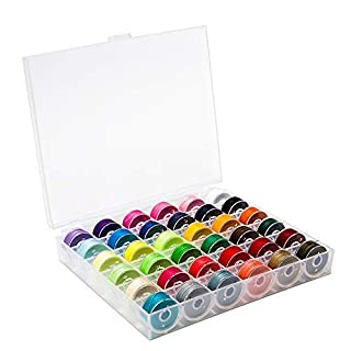 BetyBedy 36Pcs Bobbins and Sewing Threads with Bobbin Case for Multiple Sewing Machine, Pre-Wound Bobbins Set for Bro-Ther/Baby-Lock/Jano-me/El-na/Sin-ger, Standard Size and Assorted Colors