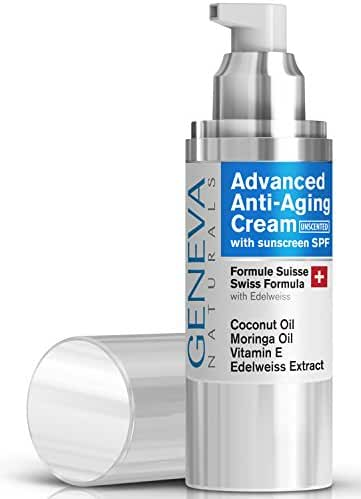 Face Moisturizer with SPF - Unscented Natural Swiss Anti-Aging Formula SPF 20 Features Coconut Oil, Vitamin E, Edelweiss Extract For Everyday Sun Protection - Men and Women
