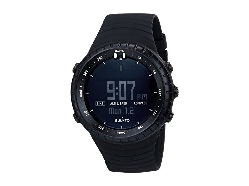 - Suunto Core All Black Digital Display Quartz Watch, Black Elastomer Band, Round 49.1mm Case