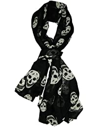 Chiffon Stylish print Scarf Chic scarf, elegant scarf for seasonless (Black Skulls)
