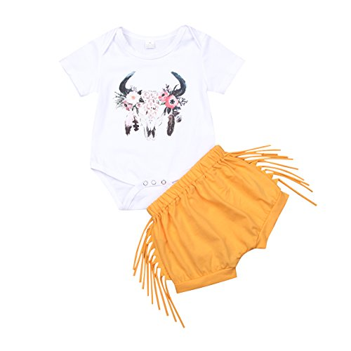 Enhill Toddler Infant Baby Girl Deer Short Sleeve Bodysuit Romper+Tassel Shorts Outfit Set (White+Yellow, 0-3 -