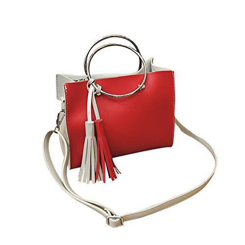 S. charma Couture ghianda rotonda in ferro colorato mano di alta qualità PU Double-color spalla singola diagonale Bag Cross Rosso