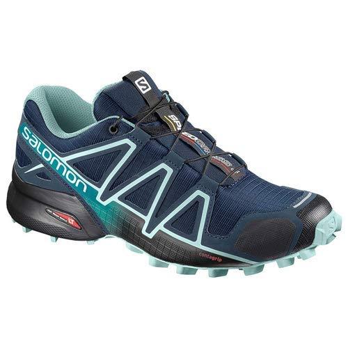 Salomon Women's Speedcross 4 Wide W Athletic Shoe, Poseidon/Eggshellblue/Black, 7 Wide US