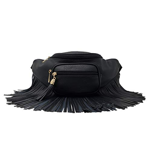 leather fringe fanny pack