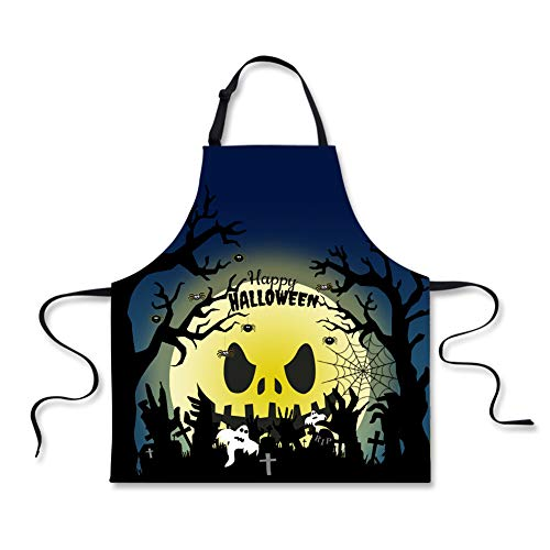 HUGS IDEA Happy Halloween Spooky Grave Printed Aprons Cooking Baking Chef Bib Apron for Men -