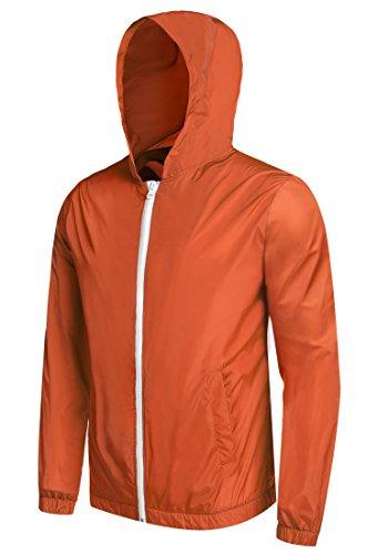 Detailorpin Men's Waterproof Rain Jacket Lightweight Hooded Outdoor Running Cycling Packable Raincoat -
