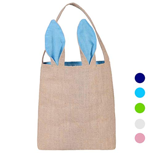 Easter Bunny Bag Dual Layer Rabbit Ears Design Jute Cloth Bag for Party (Blue) -