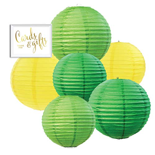 Andaz Press Emerald Green, Kiwi Green, Yellow Hanging Paper Lanterns Decorative Kit, 6-Pack with Free Gifts Table Party Sign, Pineapple Flamingo, Dinosaur, Zoo Animals, Farm Birthday Party Decorations -