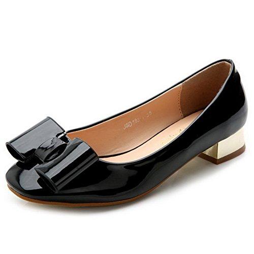 AalarDom Mujer Puntera Cuadrada Mini Tacón Material Suave Sólido De salón Negro-Lazos
