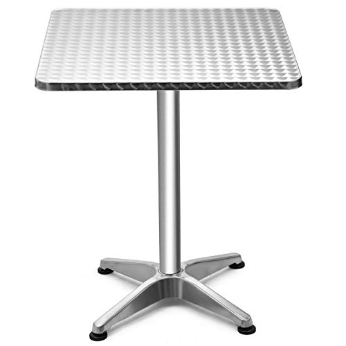 Giantex Bar Table Foldable and Adjustable Design for Indoor& Outdoor, Gardern, Balcony, Living Room Pub Cocktail Side Table (Stainless Table Bar Stools And Steel)