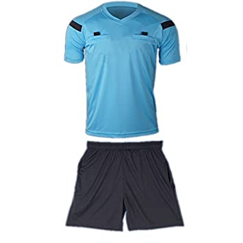 sale retailer d195b 3dffe COOLOMG Men's Soccer Sport Climacool Short Sleeve Referee Shirt Jersey Top  Shorts New