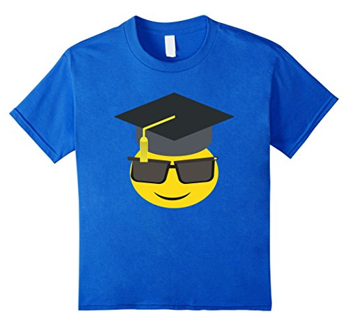 Kids T-Shirt Funny Emoticon Graduation College Party Music 4 Royal Blue