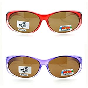 2 Pair of Women's Polarized Fit Over Ombre Oval Sunglasses - Wear Over Prescription Glasses (Purple with Brown Lens, Red with Brown Lens) 2 Carrying Cases Included