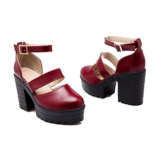 High Heels Schnalle 38 Odomolor Pumps Runde Pumps Damen PU Rot AqfnUF