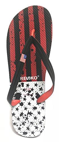 Fresko Menns Patriotisk Rødt Hvitt Og Blått Flip Flop Rød / Hvit (svarte  Stjerner)