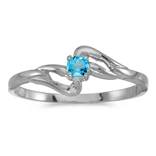 0.11 Carat (ctw) 14k White Gold Round Blue-Topaz Split Shank Bypass Promise Solitaire Fashion Band Ring (3 MM) - Size 5.5