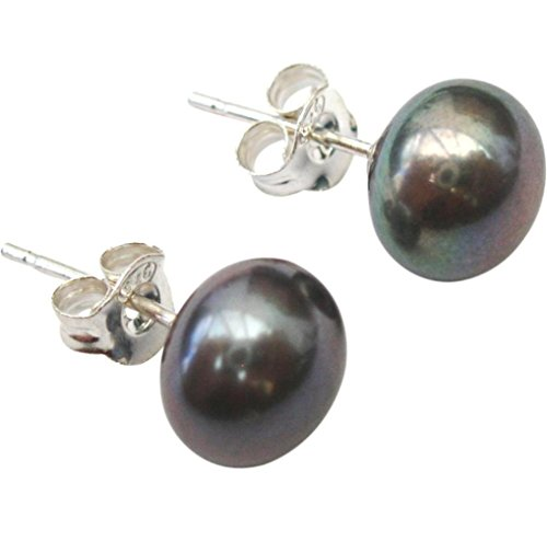7mm Peacock/Aubergine (Black) Button Cultured Pearl Silver 925 Stud Earrings