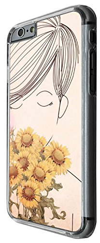 1401 - Cool Fun Trendy cute kwaii sunflowers pin up girl Design iphone 6 Plus / iphone 6 Plus S 5.5'' Coque Fashion Trend Case Coque Protection Cover plastique et métal - Clear