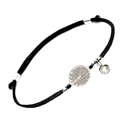 Bride Laser Charm - Tree of Life Silver Bracelet - Family Tree Jewelry Love Charm String Evil Eye Protection Bracelets Mom Daughter Women Man Wife Husband Sister Father Mother Day Valentines Gift (Round Black)