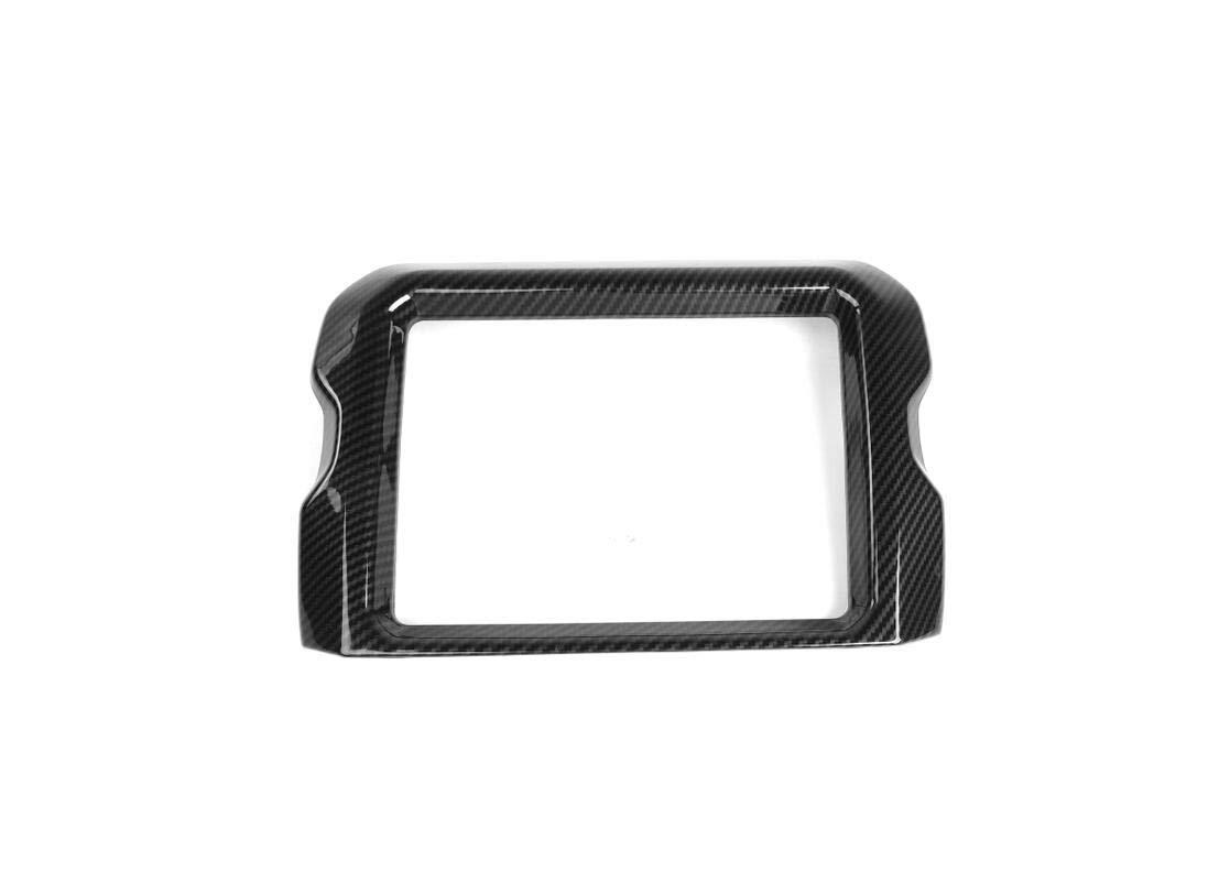 Carbon Fiber FMtoppeak 3Colors Interior Accessories Car ABS 8.4 Inch Screen Navigation GPS Panel Frame Decoration Cover for Jeep Wrangler JL Rubicon 2018 UP