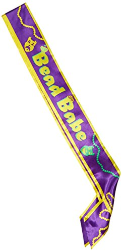 Beistle 60539 Bead Babe Satin Sash, 33-Inch by 4-Inch ()