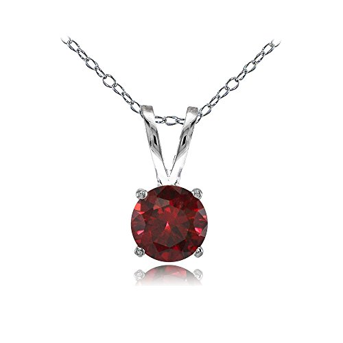 (Ice Gems Sterling Silver Created Ruby 7mm Round Solitaire Necklace)