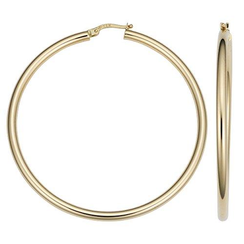 14k Gold 3x50mm Hoop Earrings