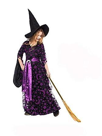 17030929b1a Amazon.com: Witch Costume For Girls - Halloween Moon Stars Print ...