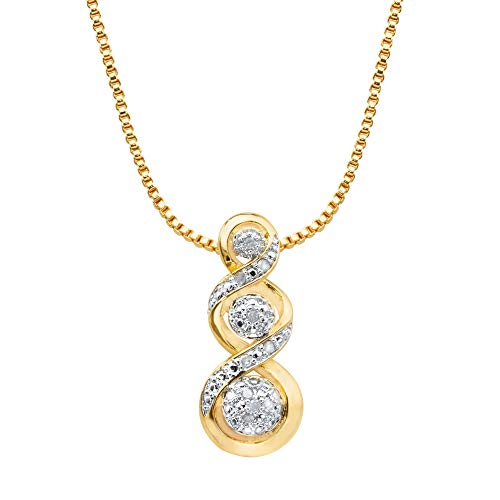 (14K Yellow Gold Plated Genuine Diamond Journey Slide Pendant (1/10 cttw, I Color, I3 Clarity))