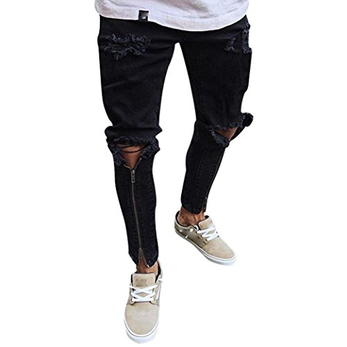 ZARLLE_Pantalones Vaqueros Hombres Rotos Pitillo Originales Slim Fit Skinny Pantalones Casuales Elasticos Agujero PantalóN Personalidad Jeans De Insignia Cremallera Pantalones Largos para Hombres Negro