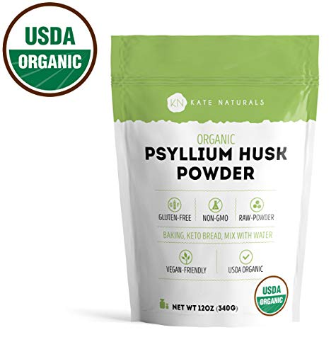 Psyllium Husk Powder Organic by Kate Naturals. Perfect for Baking, Keto Bread and Consuming With Water. Gluten-Free & Non-GMO. Large Resealable Bag. 1-Year Guarantee (12oz).