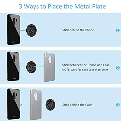 Mount Metal Plate 5 Pack, Universal Metal Disc Replacement with Strong Adhesive for Magnetic Cell Phone Car Mount GPS Holder 5 Round