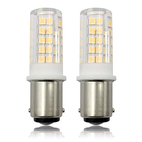ZHENMING Ba15d 120V LED Light Bulb Dimmable 8 Watts Ba15d Double Bayonet Base T3/T4/C7/S6 Halogen Bulbs Equivalent for Sewing Machine Lamp Warm White 3000K(Pack of 2) - Ba15d 130 Base Volt T4