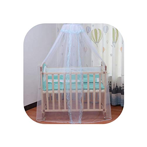 (final-dawn Bed nets Baby Bed Mosquito Net Cover with Lace Foldable and Breathable Mesh Net,Blue lace,160x450CM)