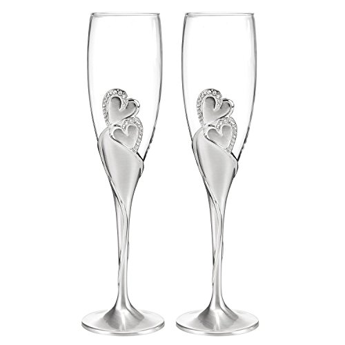 Wedding Accessories Sparkling Love Champagne Flute (Set of 2), Silver