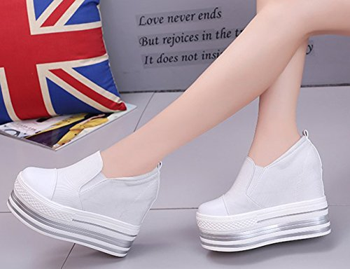 Sneaker On Higher Casual Increased Shoes White The YC Heels Canvas Flat Loafer Wedges Within Travel Shoes Platform WELL Slip Flat Womens Wedge High xqwxZHp