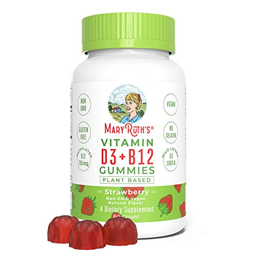 - Vegan Vitamin D3+B12 Gummy (Plant-Based Gummies) by MaryRuth's | Made w/Organic Ingredients Non-GMO Vegan Paleo Gluten Free for Men, Women & Kids 1000 IU Vitamin D3 & 250 mcg Vitamin B12 60 Count