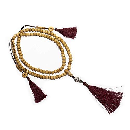 Ojas Yatra Mala Beads Necklace - Premium Handmade Yak Bone 108 Beads Mala - Comes with Detachable Tibetan Charm, Cotton Bag & Gift Box -Buddha/Tassel/Bracelet/Japa Mala/Meditation/Yoga/Spiritual ()