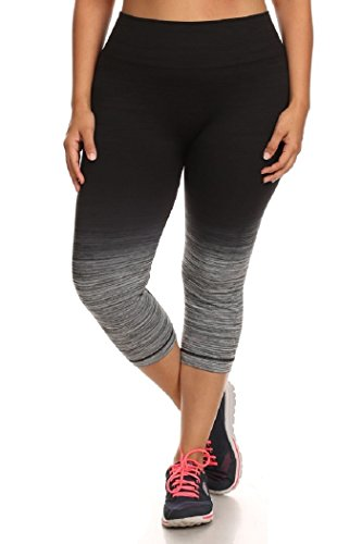 Womens Plus Size Ombre Capri Activewear Leggings Athletic Pants Sport 2X/3X Black/Charcoal