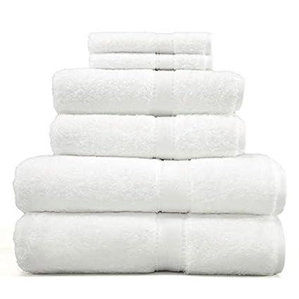 Hermoso gran Spa toalla de baño de color blanco 6 piezas ricos lujoso Hotel suave Durable