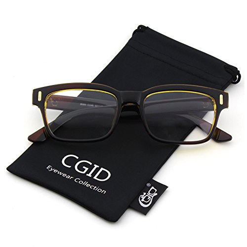 Happy Store CN84 Casual Fashion Horned Rim Rectangular Bold Thick Frame Clear Lens Eye Glasses,Brown - Glasses Geek Chic