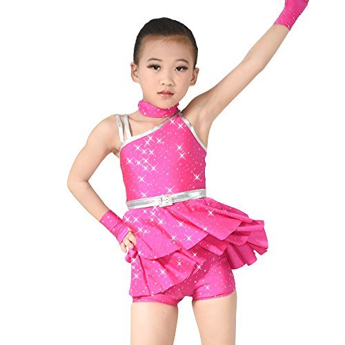 MiDee Dance Costume Lyrical Shorts 2 Pieces Little Girl Diagonal-Neck Sequins (MC, Multi Color) - Disco Dance Solo Costumes